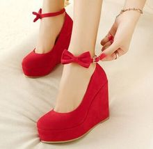 Size 4~8 Sweet Bowtie Red High Heel Women Shoes 2016 Wedges Wedding Shoes Pumps zapatos mujer