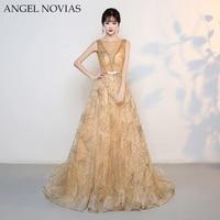 ANGEL NOVIAS 2018 New Custom Make Gold Glitter Sparking Evening Dress Long Formal Amazing Vintage Arabic Prom Dresses
