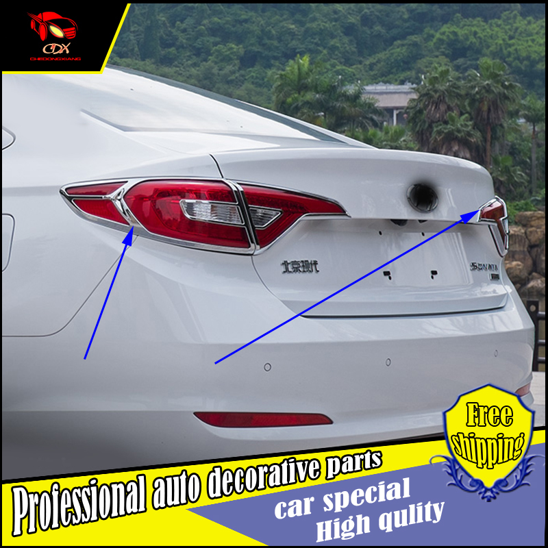 ACCESSORIES TAILLIGHT TRIM FIT FOR 2015 2016 HYUNDAI SONATA LF ABS CHROME 9th REAR HEADLIGHT TAIL LIGHT LAMP COVER TRIM MOLDING
