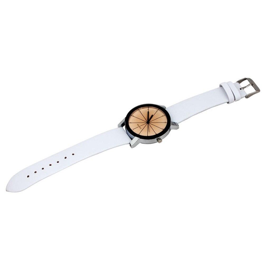 2018 Baru Kedatangan Pria Kuarsa Dial Jam Kulit Wrist Watch Putaran - Jam tangan wanita - Foto 5