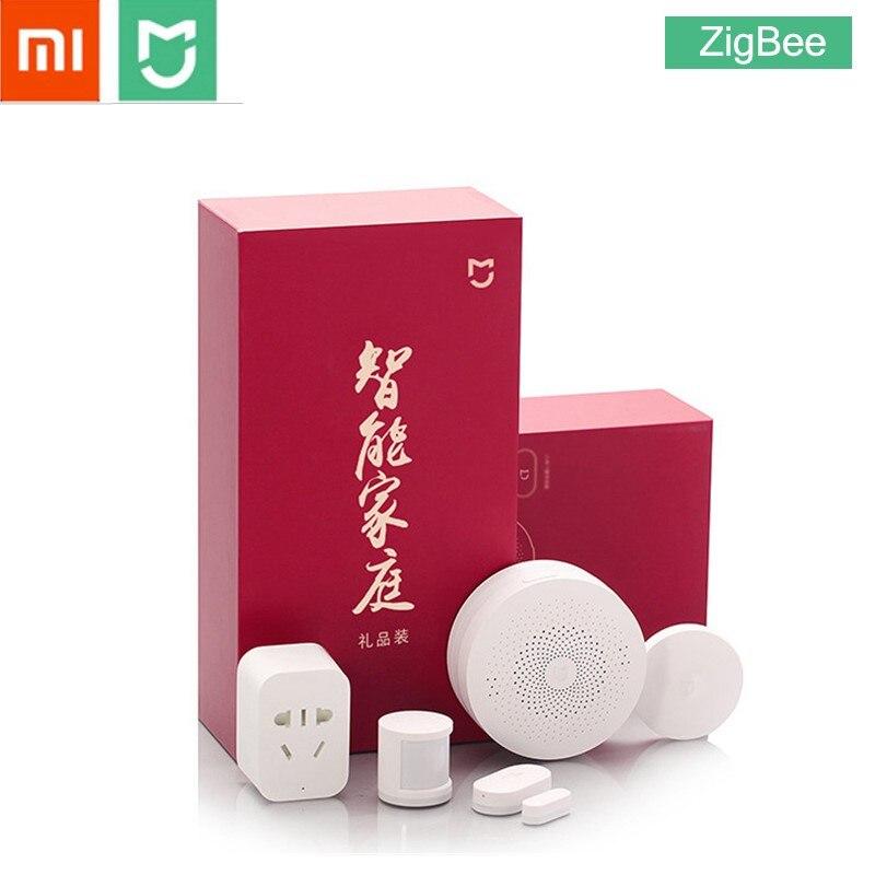 Xiaomi MIJIA 5 en 1 Smart Home Kit paquete ZigBee Socket Gateway Hub Cuerpo Humano Sensor de puerta ventana interruptor inalámbrico mini