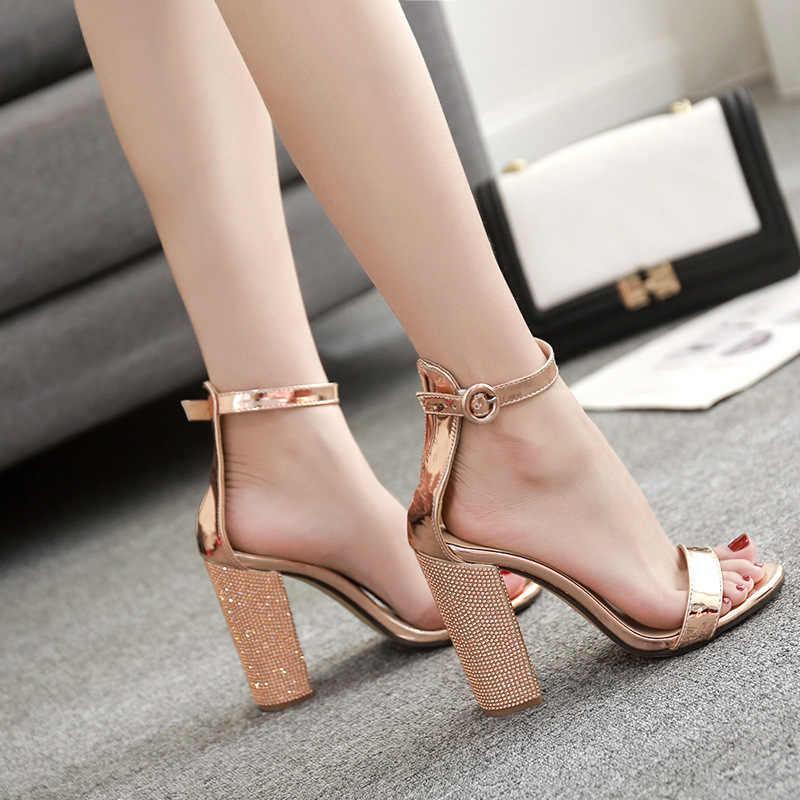 5c1c2555440a Gold Thick High Heels Sandals Women Fashion Ankle Strap Open Toe Pumps  Woman Plus Size 35