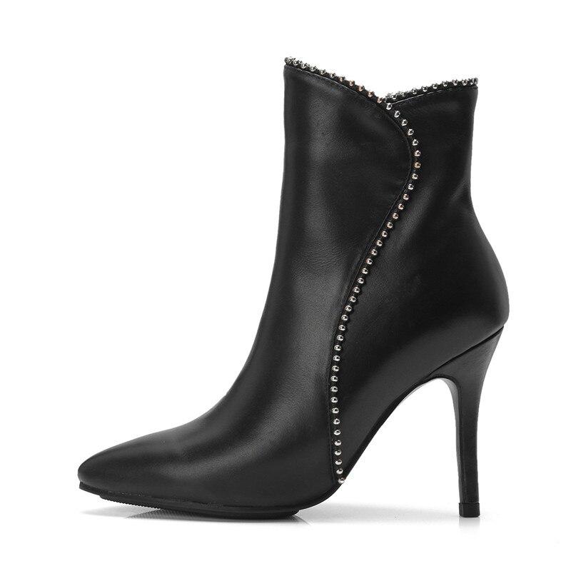 2018 Taille Mode Bottes Pour Véritable Bout Pointu Cuir Grande Automne Asumer 43 Hiver Zip En Dames Cheville Femmes Nouveau Noir 32 MUqSzVjpGL