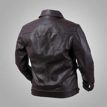German Air Force Hartmann Aviator Faux Leather Jacket Turn-down Collar Slim Fit