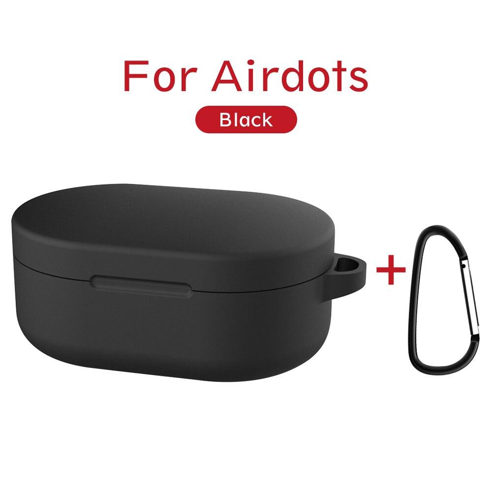 Силиконовый чехол с пряжкой для Red mi AirDots Air dots, чехол, беспроводной Bluetooth чехол s, мягкий ТПУ чехол - Цвет: Черный