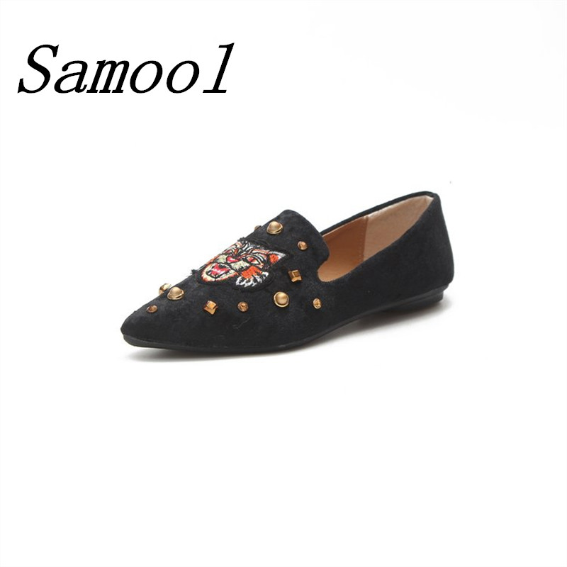 Women Flats Pointed Toe Flat Satin Women Slip on Women Embroidery Shallow Flats Shoes Elegant Women Shoes Causal Loafers jx3 daitifen 2018 spring elegant mental buckle pointed toe ladies flat shoe fancy flock shoes women flats casual slip on women flats