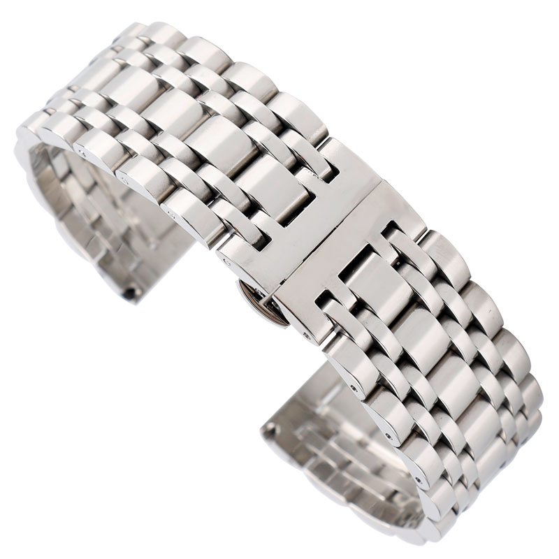 20mm 22mm 24mm Solid Stainless Steel Watch Band Strap Hidden Clasp Men Silver Bracelet Replacement Top 316L Solid Link carlywet 22 24mm silver solid screw links replaceme 316l stainless steel wrist watch band bracelet strap with double push clasp