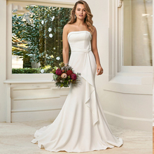 Verngo Soft Stain Mermaid Wedding Dress Simple Elegant Gowns Sexy Strapless Lace up Bride Vestidos De Novia 2019