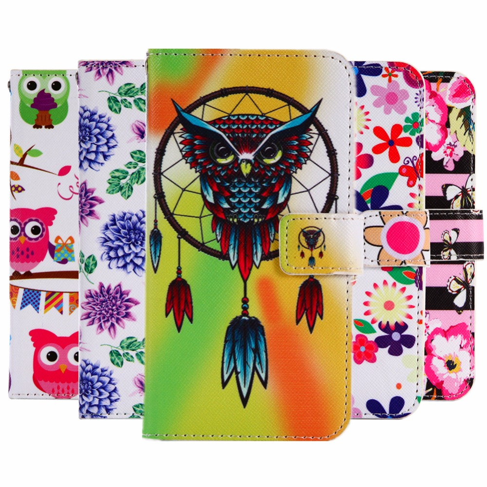 GUCOON Cartoon Wallet Case for Fly IQ4415 Era Style 3 4.5 Fashion PU Leather Lovely Cool Cover Cellphone Bag Shield