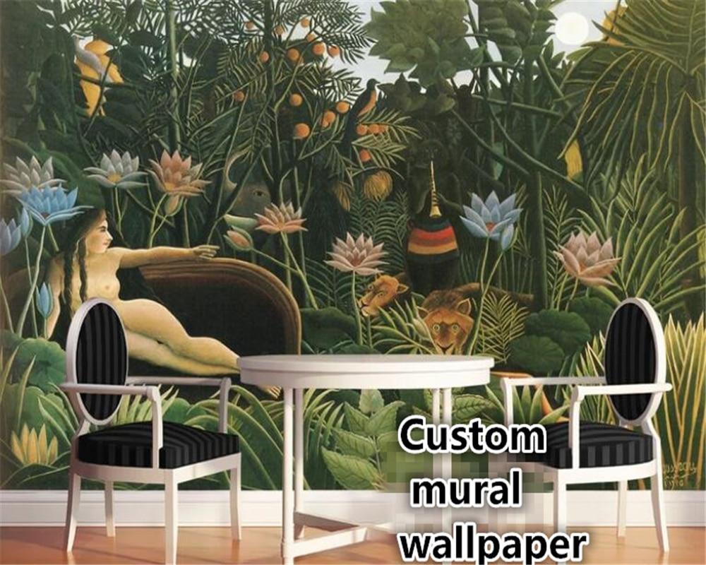 beibehang papel de parede Custom European hand-painted rainforest <font><b>nude</b></font> <font><b>female</b></font> Southeast Asian style wallpaper background behang