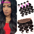 7A Brazilian Body Wave With Frontal Closure Bundle Full Frontal Lace Closure 13x4 With Bundles Body Wave With Ear To Ear Closure
