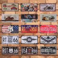 バークラブ壁ガレージアメリカヴィンテージ金属スズの看板ルート 66 のカーナンバーのポスター家の装飾 15 × 30 センチメートル C10
