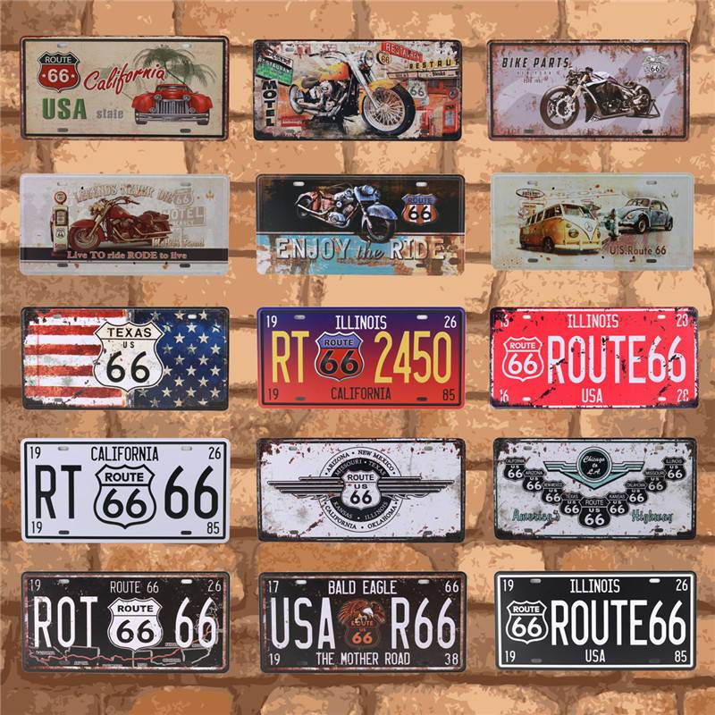Bar Club Wall Garage USA Vintage Metal Tin Signs Route 66 Car Number License Plate Plaque Poster Home Decoration 15X30CM C10(China)