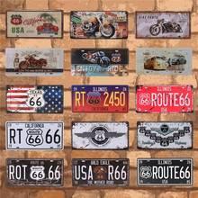 Carteles de hojalata vintage Route 66 para matrícula de coche con placa de 15X30CM C10