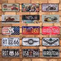 Bar Club Wall Garage USA Vintage Metal Tin Signs Route 66 Car Number License Plate Plaque Poster Home Decoration 15X30CM C10