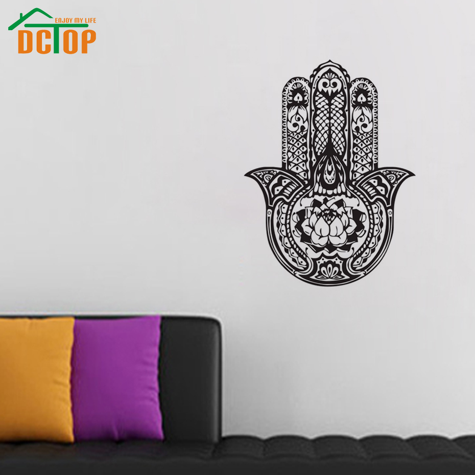 Lotus Hamsa Hand Wall Decals Vinyl Art Home Decor Self Adhesive Indian Buddha  Wall Sticker Living Room