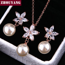 ZYS234 Summer Folwer Imitation Pearl  Platinum Plated Jewelry Necklace Earring Set Rhinestone Made with Austrian  Crystals