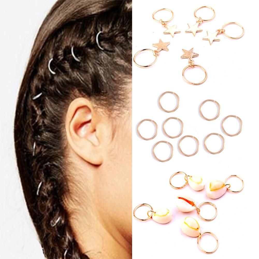 Women Hip-Hop Twist Braid Hair Ornament Alloy Circle Hoop Hair DIY Pendant-RO