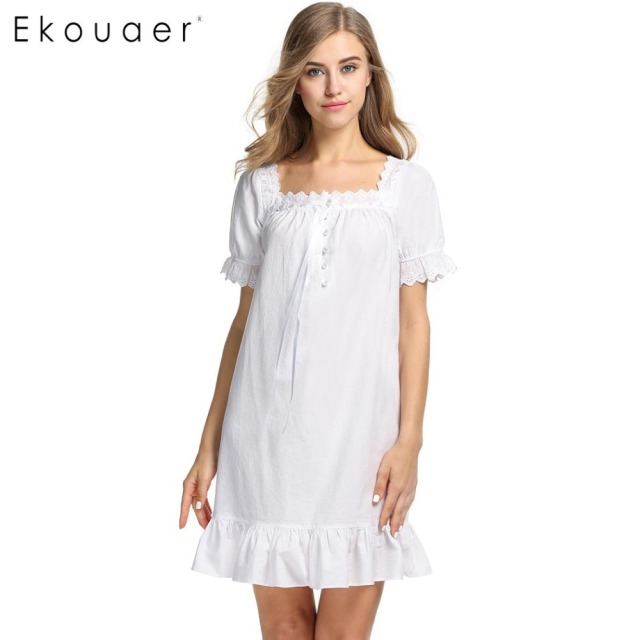 29e1920291eb2 Ekouaer Cotton Night Dress Women Summer Sleepwear Square Neck Vintag  Nightgown Royal Sleep Lounge Nightwear Female Home Clothing
