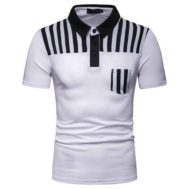 Brand New Summer   Polo   Shirt Men Solid Short Sleeve Slim Fit Mens   Polo   Striped Print Casual   Polos   Men