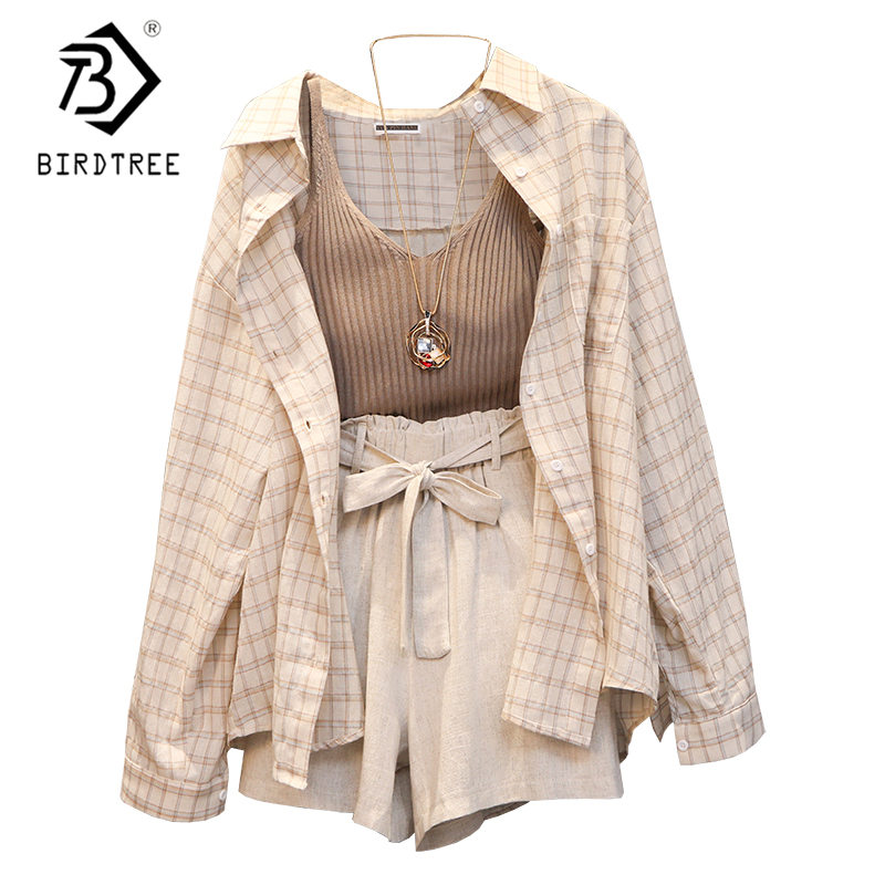 Summer Women Three Piece Sets Casual Linen Plaid Tops + Shorts Elastic Waist Belt Wide Leg Pants Suit Set 3 Piece Set S96805J