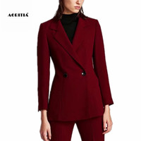 2018 Women Long Sleeve Red Blazer Tops Ladies Pocket Blazers Mujer