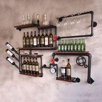 ロフトレトロインダス棚棚壁鉄木製パイプ壁掛けコーヒーショップバーワインキャビネットワインラック バー & ワインキャビネット 家具 -