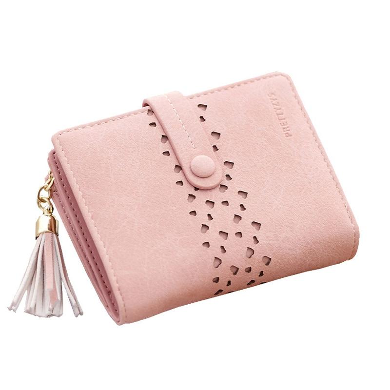 Women Wallet Leather Card Coin Holder Money Clip Short Clutch Tassel Three Fold Cash Pocket Photo 2017 Hot Sale Female Purse
