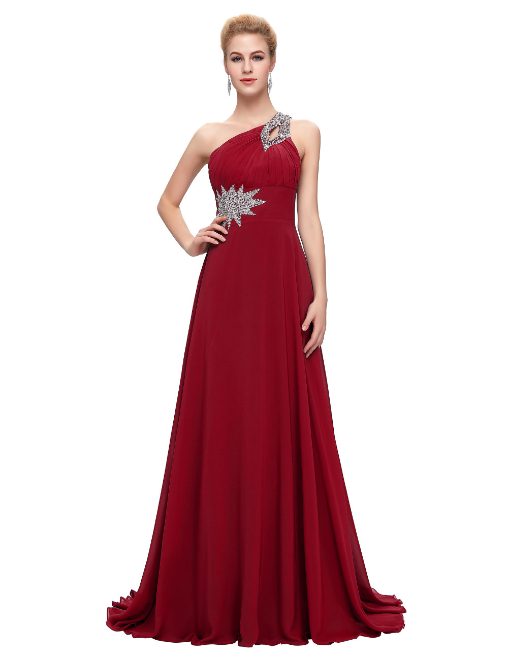 Elegant One Shoulder Long Bridesmaid Dress 14