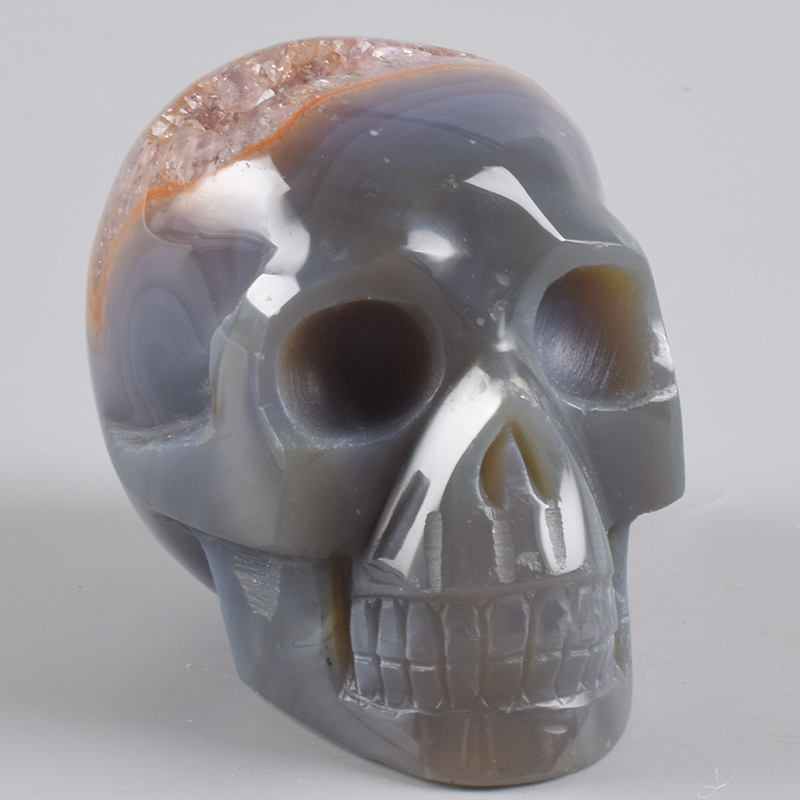 Crâne de géode en cristal d'agate 420g pierre naturelle Halloween Figurine de Quartz crânes sculpture Statue d'onyx de guérison décor Feng Shui