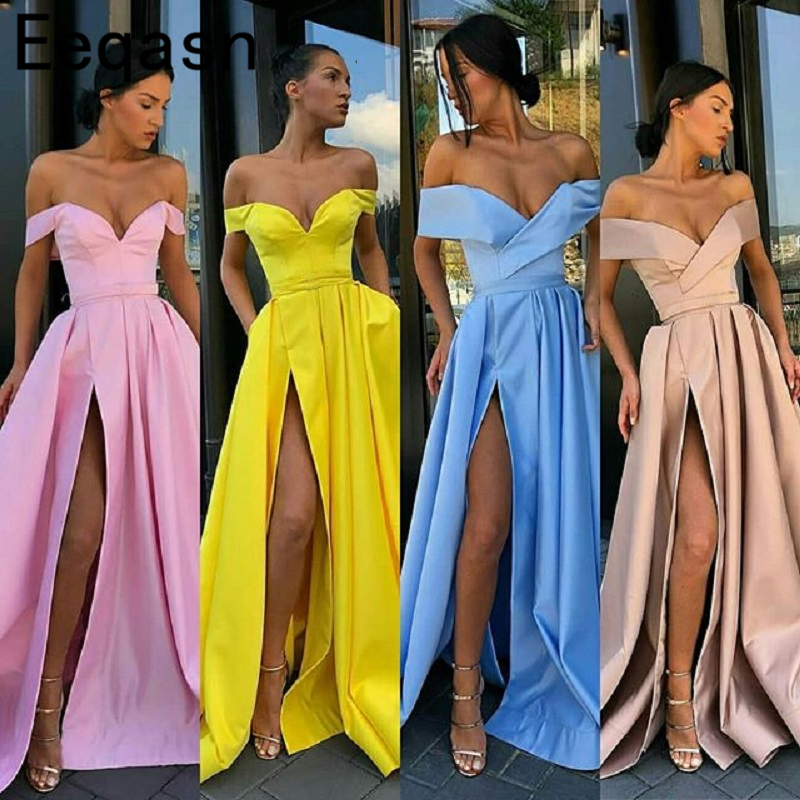 2018 Long Blue Prom Dress with Pocket Off Shoulder A Line Side Slit Elegant Pink Women Evening Party Gown Special Occasion Dress