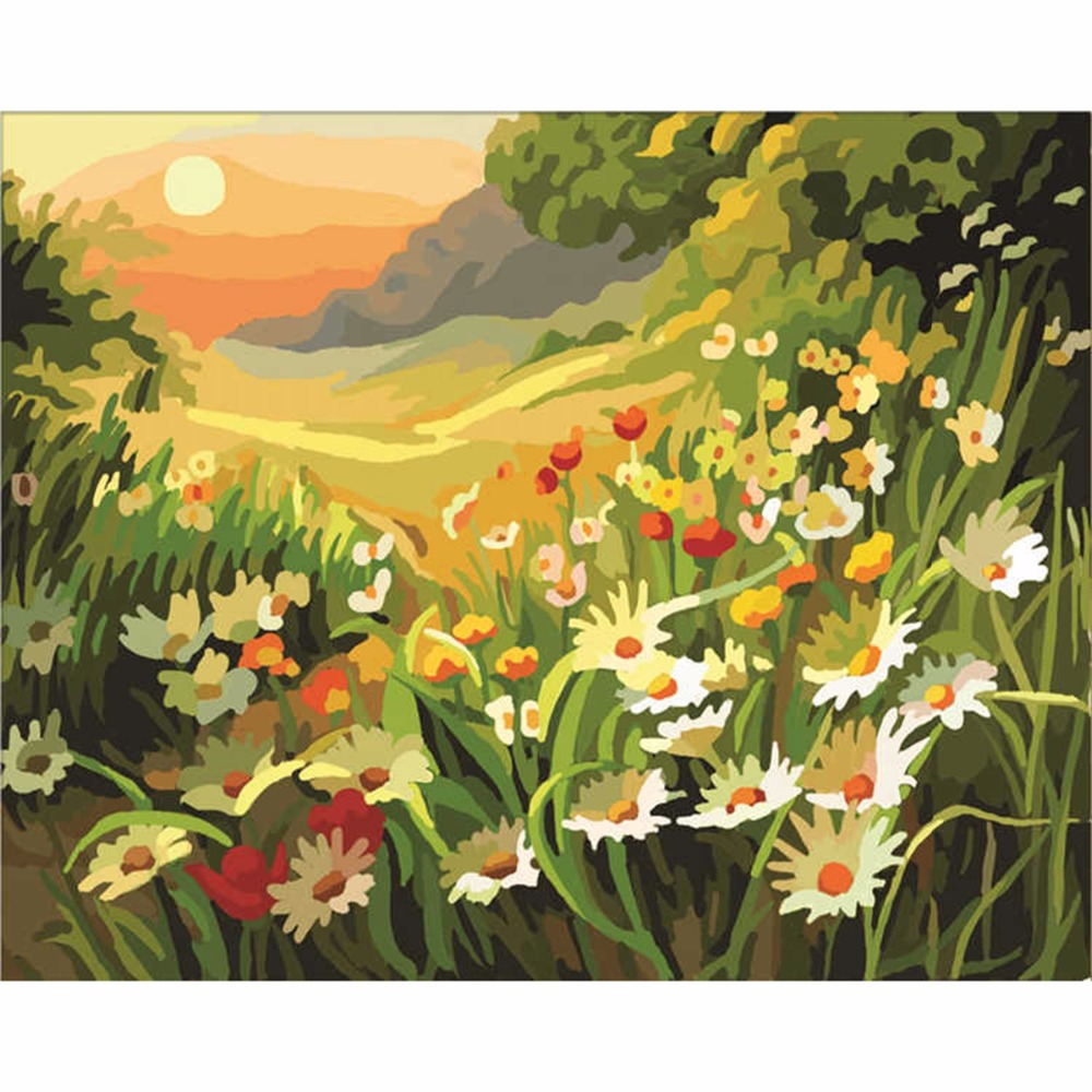 Flowers daisies diy painting by numbers mountain landscape wall flowers daisies diy painting by numbers mountain landscape wall painting home decor for living room diy digital oil painting in painting calligraphy from izmirmasajfo