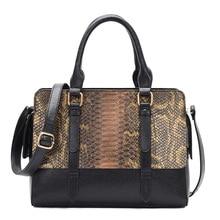 2019 High Quality women Patent leather tote bag female fashion serpentine prints leather handbags boston bag large shoulder bag