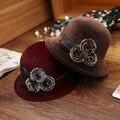 Señora Elegante De Lana Sombrero de Fieltro Para Las Mujeres Real de Piel De Mapache Bola Bowler Hat Fedora Sombrero Gorra de Color Sólido Femenina Chapeau