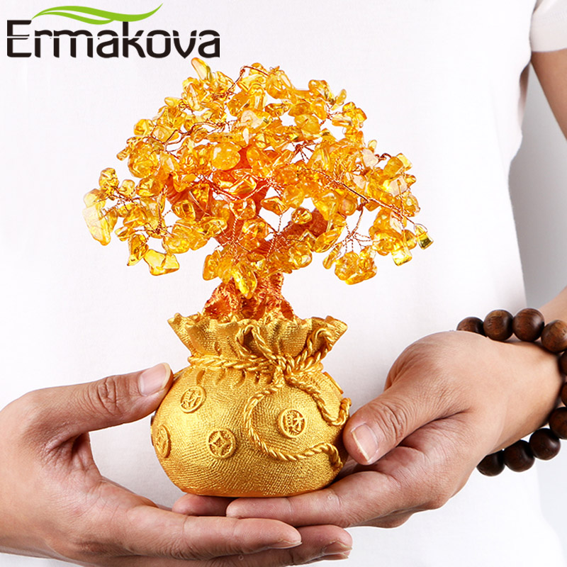 ERMAKOVA 7 Inch Tall Crystal Lucky Money Tree Figurine Feng Shui for Wealth and Luck Home Office Decor Birthday Gift