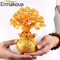 ERMAKOVA 7 Inch Tall Crystal Lucky Money Tree Figurine Feng Shui for Wealth and Luck Home Office Decoration Birthday Gift