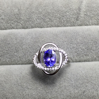 6 8mm Tanzanite Rings For Women 925 Sterling Silver Engagement Ring Fine Jewelry Cubic Zirconia White