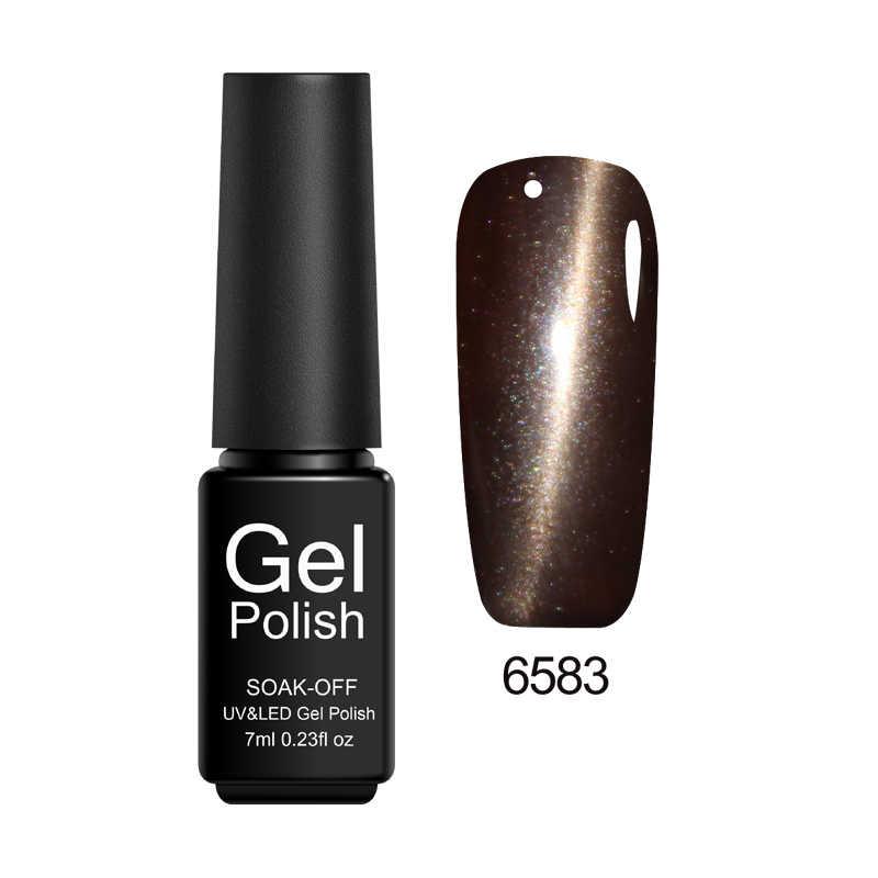 Esmalte de uñas de Gel de Zation para la venta remoja la pintura de Gel LED UV 7 ml pegamento magnético de brillo en el imán de uñas esmalte de uñas ojo de gato