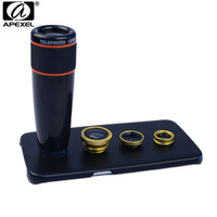 Apexel kit lente do telefone 12x lente telefoto olho de peixe grande angular macro lente com caso para samsung galaxy s7 edge plus s6 s5 nota 1285|12x telephoto lens|phone lens|macro lens -