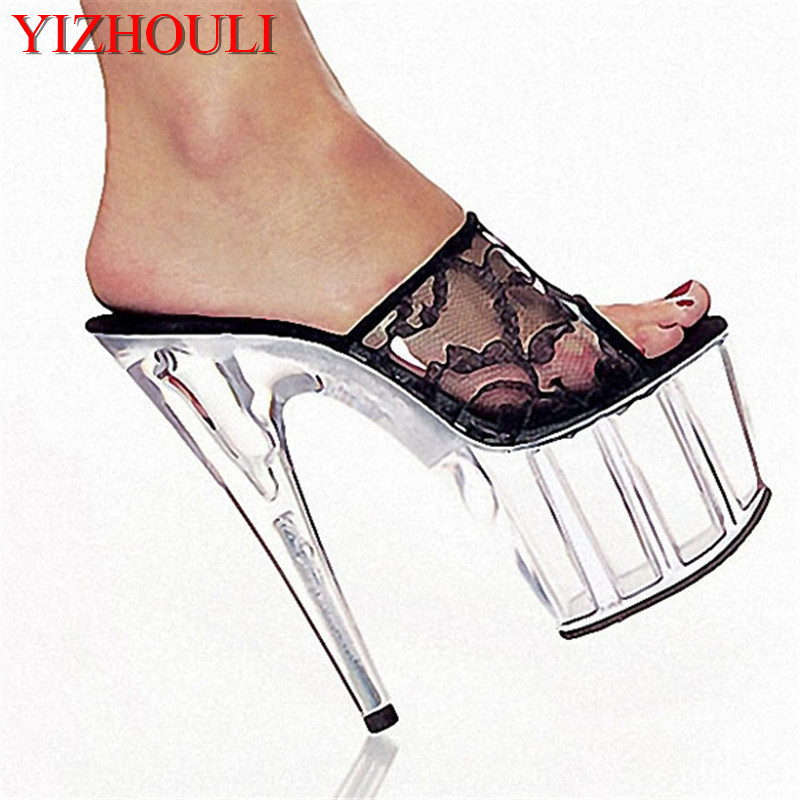 Lace Women's Shoes 15cm Ultra High Heels Slipper Shoes Postage Fees 6 Inch High Heels Crystal Platforms Shoes 15cm ultra high heels sandals ruslana korshunova platform crystal shoes the bride wedding shoes
