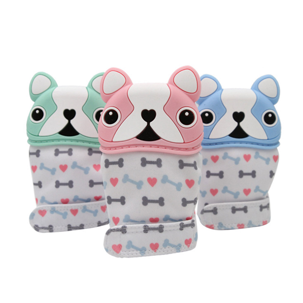 MrY Children's Cartoon Silicone Teether Baby Pacifier Glove Newborn Dog Anti-Bite Glue Gloves Baby Anti-Eat Hand Molar