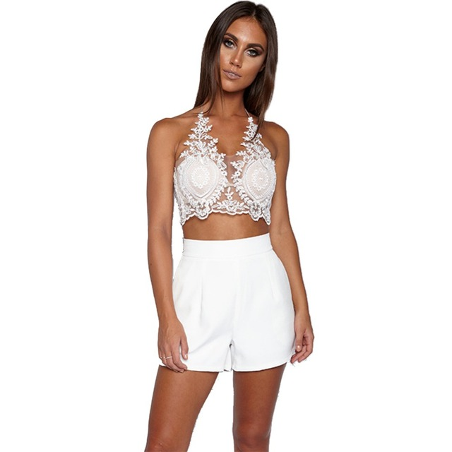 4778bd6bf31db White Lace Floral Bralette Tank Top Summer Bustier Halter Lace Up Crop Top  Back Zipper Camis