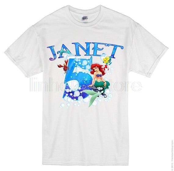 Detail Feedback Questions About GILDAN Ariel The Little Mermaid Birthday Shirt Custom Personalized Family Shirts