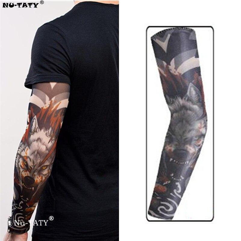 Us 092 5 Offnu Taty Wilk Głowy Mężczyzny I Kobiety Styl Tatuaż Rękawy Pończochy Body Art Legginsy Fajne Chłopcy Dziewczęta Party Noszenia W