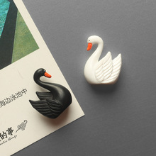 10pcs Cute Little Swan Fridge Magnet Tile Cartoon Message Post Ci Xing Tie Creative 3D Stereo Refrigerator Decoration Pendant