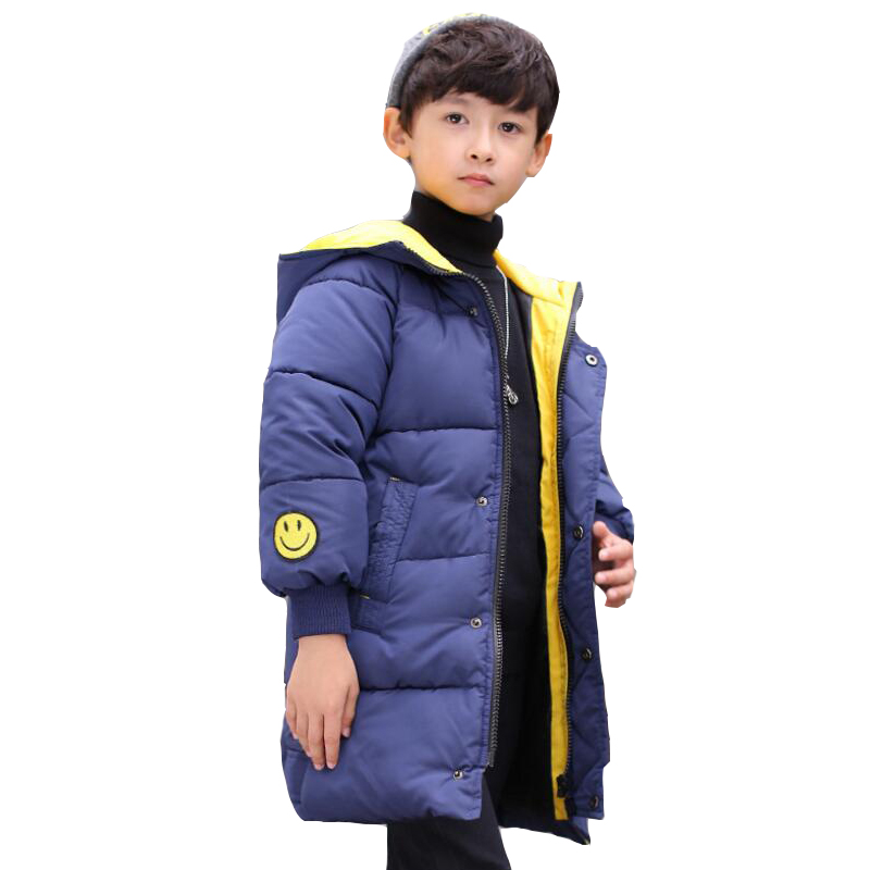 Big Kids Parkas Cotton-Padded Winter Jackets For Boys Children Clothing Warm Smile Face Hooded Coats 2017 Teenage Boys Outerwear children winter coats jacket baby boys warm outerwear thickening outdoors kids snow proof coat parkas cotton padded clothes