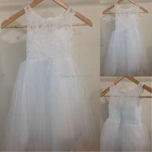 Новое милое платье с цветочным узором для девочек нарядное пышное