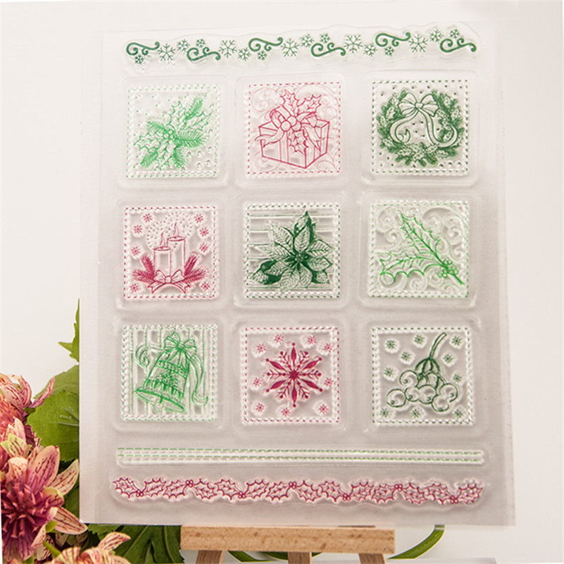 frame with flowers and gift christmas Clear Stamp for DIY Silicone Seals Scrapbooking Card Making Photo Album paper craft RZ-203 rubber seals for fluid and hydraulic systems