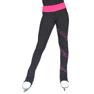 Image 2 - Łyżwiarstwo długie spodnie łyżwiarstwo figurowe spodnie dostosowane ciepłe polary dorosłe dziecko konkurs wydajność błyszczące Rhinestone