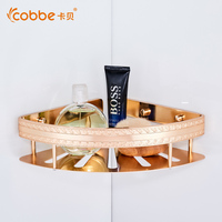 Beautiful Durable Champagne Gold Corner Shower Caddy Shower Basket Of Bathroom Accessories Bathroom Shampoo Holder Basket